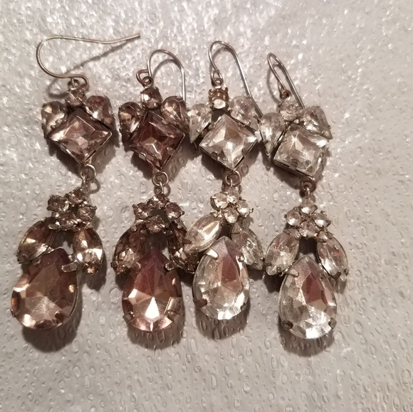 Claire's Jewelry - 2 pair Smokey gray & clear Rhinestones Earrings